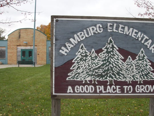 The site of the former Hamburg Elementary School, boarded