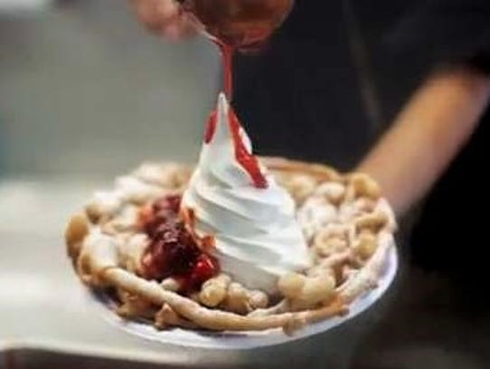 Funnel cake strawberry shortcake with soft-serve vanilla