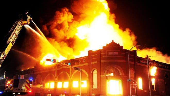 Abilene Fire Chief Larry Bell said the Feb. 20, 2012, fire at the historic Matera Paper Co. building was one of the worst fires in Abilene during his 35-year career.  Firefighters were not able to save the 105-year-old building.