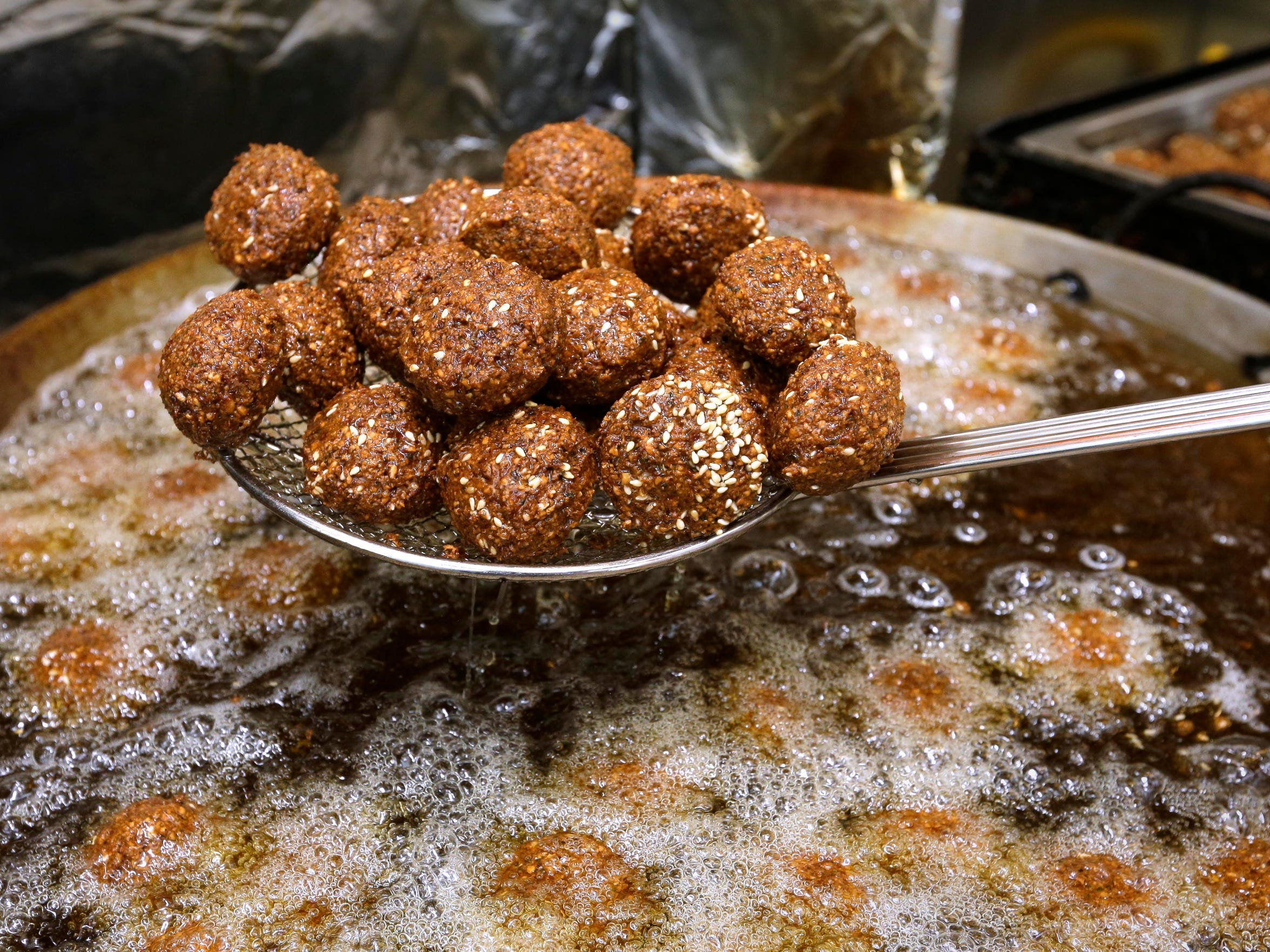 The freshly made falafel at Holyland Restaurant, 2755