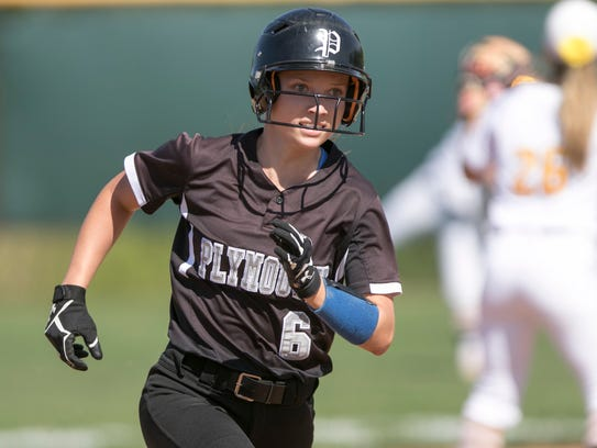 Jenny Bressler of Plymouth heads safely to third base