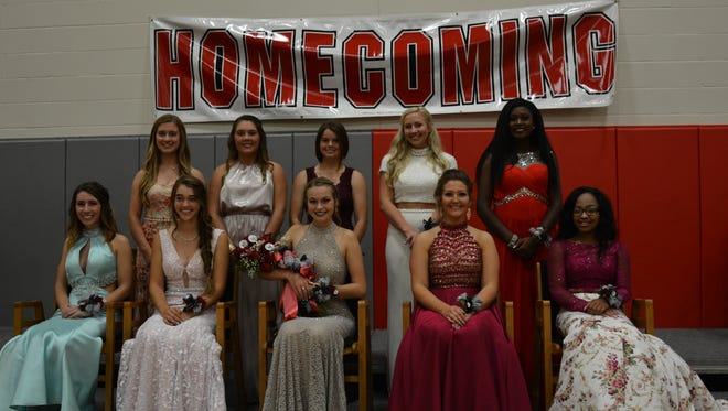 Marion Harding High School celebrated homecoming Friday, Oct. 6. Senior Kelsey Montgomery was crowned the homecoming queen. From left, front, are Richelle Millhouse, Julia Martin, Queen Kelsey Montgomery, Shelbi Martin and Sequoyah Thompson; and back, Marlena Stimson, Katlyn Large, Maya Bisigano, Hope Meddings and Alecea Rucks.