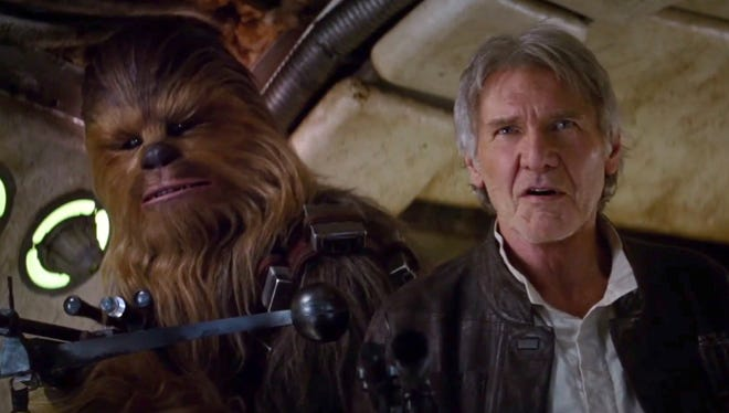 "Chewbacca and Han Solo (Harrison Ford) make an appearance in a trailer for ""Star Wars: The Force Awakens."" Chewbacca and Harrison Ford in a scene from the second trailer, released 4/16/15, for the motion picture ""Star Wars: The Force Awakens."" CREDIT: StarWars.com [Via MerlinFTP Drop]"