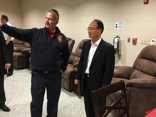 Clarksville Fire Rescue Capt. Steven Peters shows Hankook's