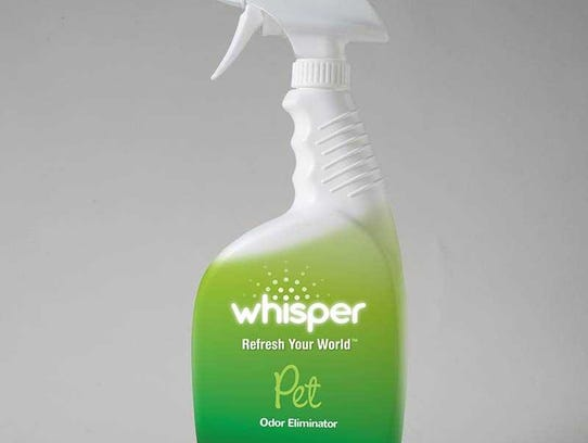 Whisper Pet, an odor eliminating product.