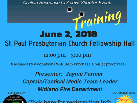 Active shooting training event flyer.
