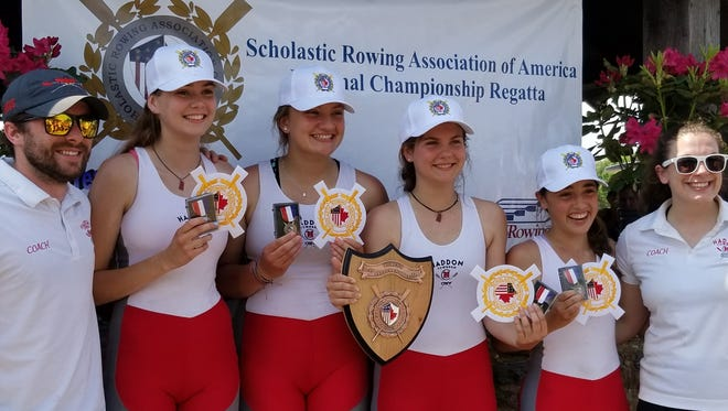 the Haddon Township High School freshman girls' quad won a national title on the Cooper River on Saturday. Pictured (from left to right), coach Keith Ferguson, Fiona Steele, Maya Jacobson, Olivia Hollingsworth and Sara Ladik and coach Katie Ely.