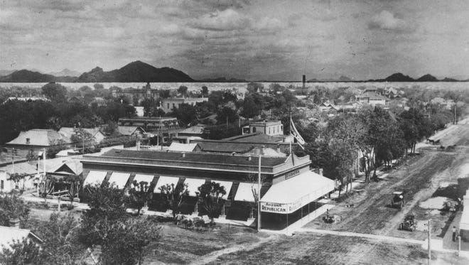 The Arizona Republican building, about 1908 or 1910, on the northeast corner of Second St. & Adams. It was the newspaper's first permanent home.