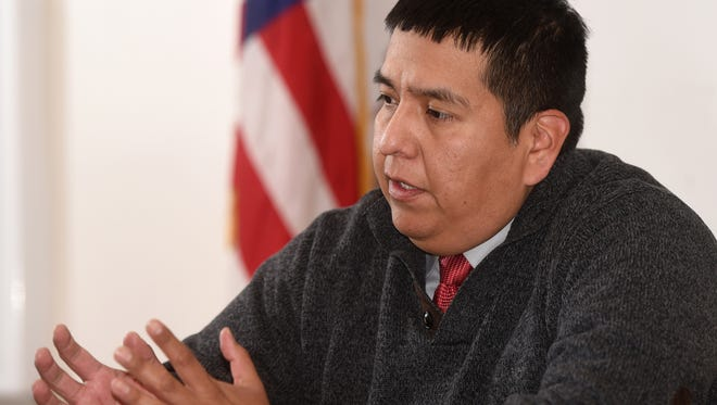Robertson Yazzie Jr. speaks on Tuesday at the Northern Navajo Veterans Center in Shiprock.