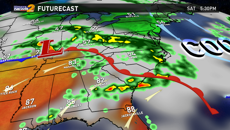 Wet and damp with clouds in the Triad this weekend.