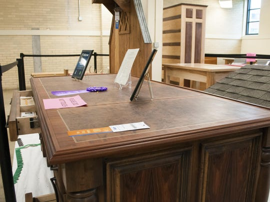 Bethany Hobson's award wining desk is seen at the Indiana State Fair in Indianapolis.