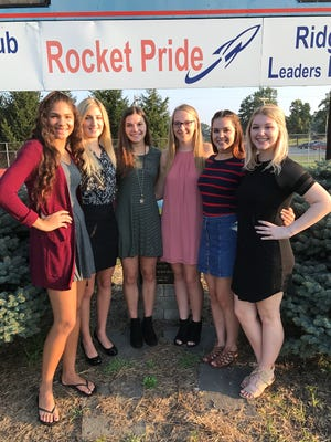 Ridgedale Homecoming festivities will take place at 6:30 p.m. Friday, Sept. 29 at the football stadium. The Homecoming court includes, from left, Briana Outcalt,freshman attendant; Taylor Merritt, senior attendant;Brooke Wollett, senior attendant, Lindsay Park, senior attendant; Kamryn Dyer, junior attendant; andMadison Blankenship, sophomore attendant.