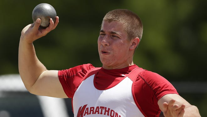 Marathon's Devin Mathwich gets set to release the shot during Division 3 boys shot put competition during the WIAA state track meet Saturday.