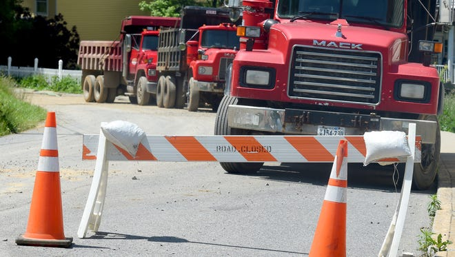 Continued work on storm drain upgrades keep sections of Green and Bridge streets closed in Staunton on Wednesday, May 25, 2016.