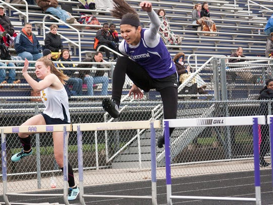 Rose Tecumseh of Lakeview competes in hurdles during