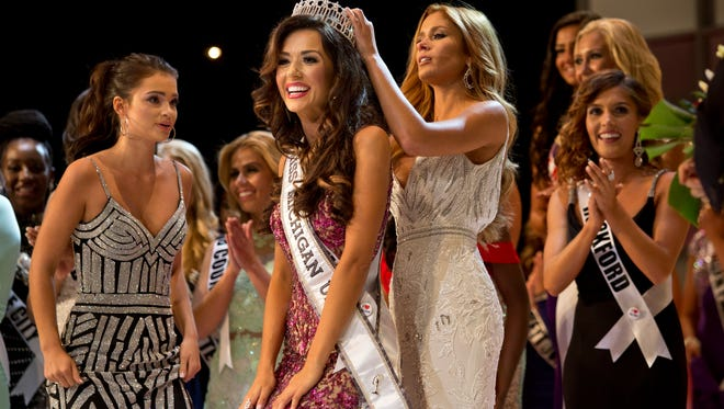 Miss Livonia, Susan Leica, is crowned during the Miss Michigan USA pageant Saturday, September 26, 2015 at McMorran Auditorium in downtown Port Huron.
