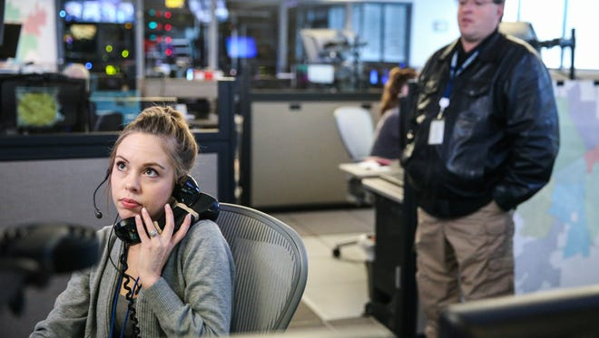 Lyndsey Harmosillo, dispatcher, works at her station Friday, Jan. 12, 2018, at San Angelo Public Safety Communications Center.