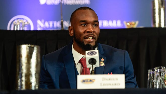 Dec 5, 2017; New York, NY, USA; South Carolina State linebacker Darius Leonard receives defensive player of the year award at the 60th NFF Annual Awards Dinner Press Conference at New York Hilton.