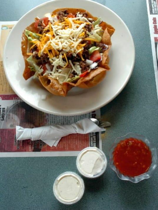 A taco salad awaits customers at South York Diner.