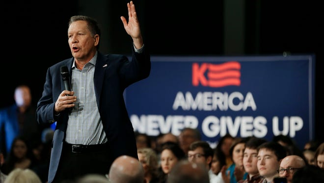 Ohio Gov. John Kasich speaks at a rally on Feb. 27, 2016, in Nashville.