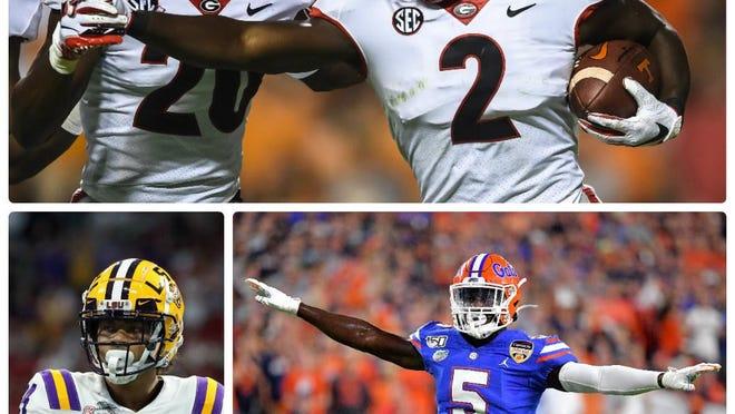 The SEC boasts three of the top defensive backs in the country this season -- Georgia safety Richard LeCounte III, top;  Florida cornerback Kaiir Elam, bottom right; and LSU cornerback Derek Stingley Jr.