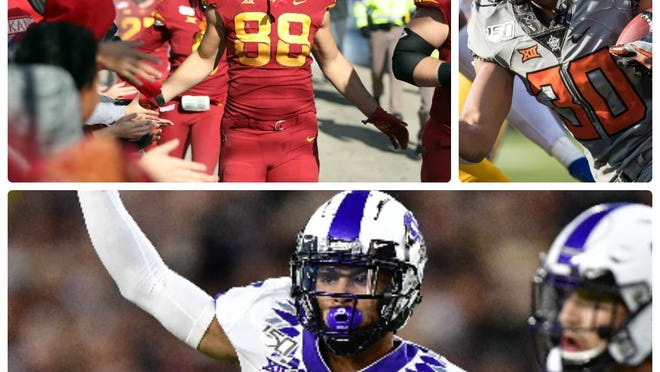 Three of the Big 12's most valuable players to their respective teams -- Iowa State tight end Charlie Kolar, top left, who's one of the top players at his position nationally; Oklahoma State running back Chuba Hubbard, top right, who led the country in rushing last year; and TCU's Trevon Moehrig, who teams with Ar'Darius Washington as perhaps the Big 12's best safety duo.