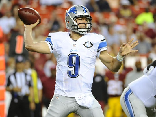 Detroit Lions quarterback Matthew Stafford (9) attempts a pass against the Washington Redskins during the first half at FedEx Field.