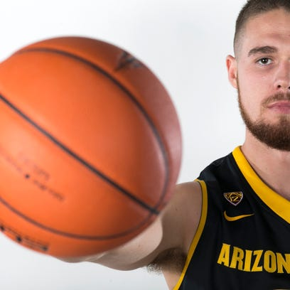 ASU center Eric Jacobsen poses for a portrait during