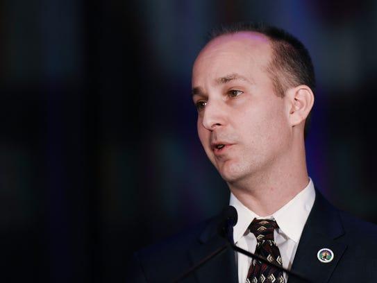 Lansing Mayor Andy Schor speaks during his inauguration on Jan. 1, 2018.