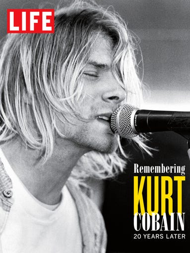 "This April marks the 20th anniversary of the  suicide of rock legend Kurt Cobain. To commemorate the anniversary, LIFE Books will release ""Remembering Kurt Cobain 20 Years Later""   in softcover; 112 pages, $13.99.<br /> <br /> Here, he performs at Seattle's Beehive Music & Video in 1991."