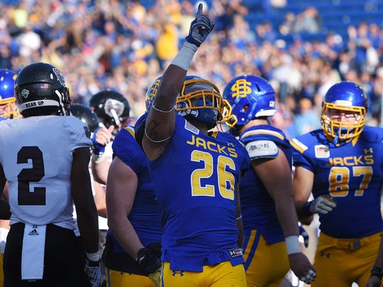 SDSU's Mikey Daniel points to the sky after scoring a touchdown against Missouri State at Dana J. Dykhouse Stadium on Saturday in Brookings.
