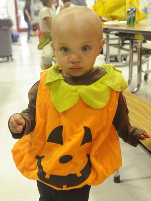 Isla Bowles, 18 months, dressed as a pumpkin for the festival.