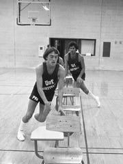 Mark Siegel, a member of the University of Evansville's Purple Aces men's basketball team, participates in a team drill in October of 1977. The team was killed in a plane crash on Dec. 13, 1977.