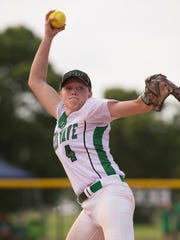Fort Myer's pitcher Hannah Perkins throws a pitch in the fifth inning of their Class 7A semifinal game against Lake Region during the FHSAA Softball State Championships at Historic Dodgertown in Vero Beach on Friday, May 19, 2017.      CQ: Hannah Perkins