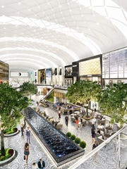 A rendering of an interior courtyard of the American Dream Meadowlands.