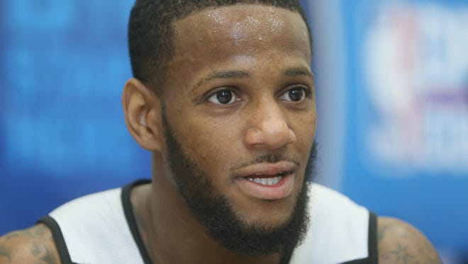 Pierre Jackson is interviewed during the NBA Draft combine at Harrison Street Athletics Facility on May 16, 2013.