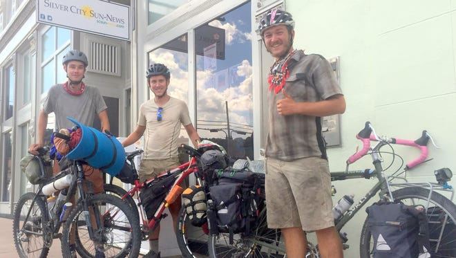 From left, are Joseph Morse, Luke Joy, and Clayton Niemietz. The trio rode into Silver City on Wednesday afternoon and were traveling the Continental Divide trail from Canada all the way down through Mexico.