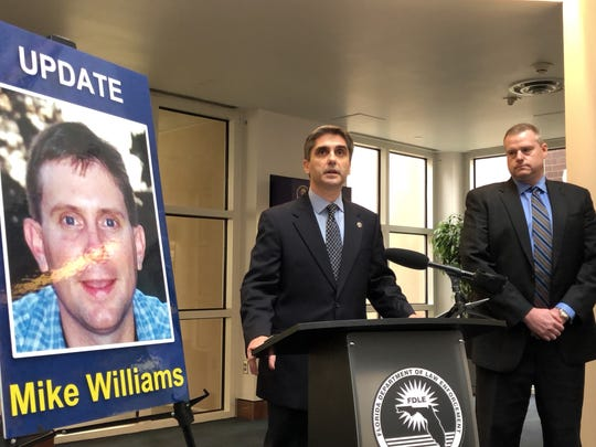 Mark Perez, Special Agent in Charge, FDLE Tallahassee, and Assistant State Attorney John Fuchs give a press conference to announce that Mike Williams, missing for 17 years, was murdered.