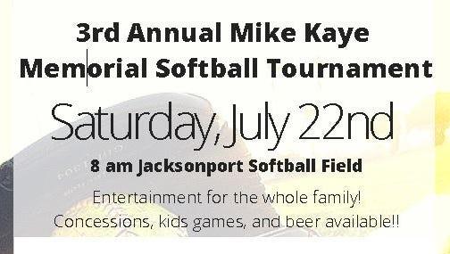 Flier for benefit softball tournament.