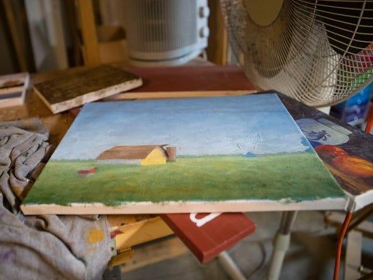Gary Hartenhoff's art is shown at his art studio in