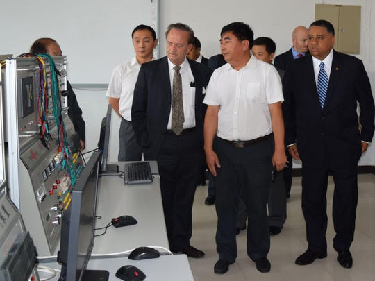 New Castle County Executive Tom Gordon tours a school in Qiqihar City, China, during a weeklong trade mission in the country.
