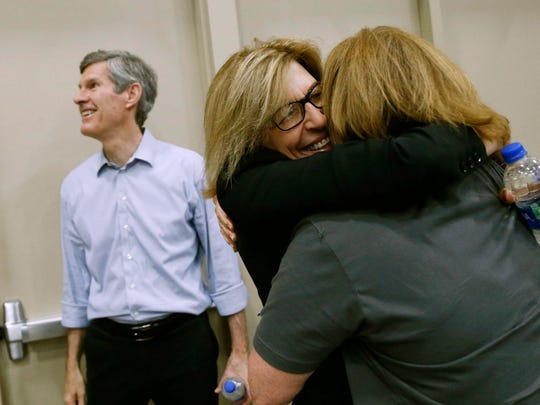State. Sen. Rita Hart hugs supporters Saturday, June 16, 2018, before being introduced as Democrat Fred Hubbell's running mate at the Iowa Democratic Party's State Convention in Des Moines.