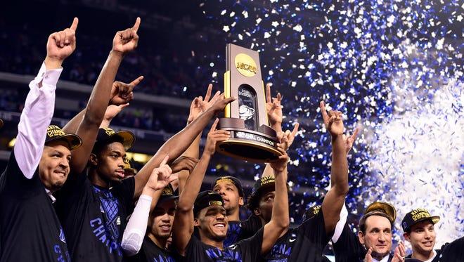 Duke celebrates the NCAA title in April 2015.