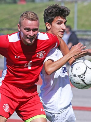 Joe Stahl of Tappen Zee and Berdj Stepanian of Byram Hills battle for possession during the 5th annual Westchester vs. Rockland Challenge Sept. 4, 2017 at Valhalla High School.