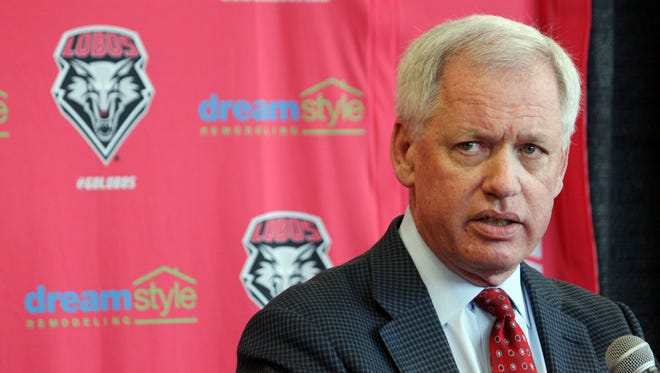 University of New Mexico athletics director Paul Krebs answers questions during a news conference in Albuquerque, N.M., on Wednesday, May 3, 2017.