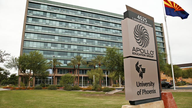 The headquarters building of the Apollo Education Group, the parent company of the University of Phoenix at 4025 S. Riverpoint Parkway in Phoenix on Sept. 9, 2015.