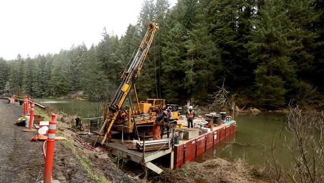 "Crews work to drill and test soil samples for a proposed new dam at the Big Creek Reservoir near Newport. Two dams currently on the reservoir have been deemed ""unsatisfactory"" by the Oregon Water Resources Department. Photographed on Tuesday, Feb. 14, 2017."