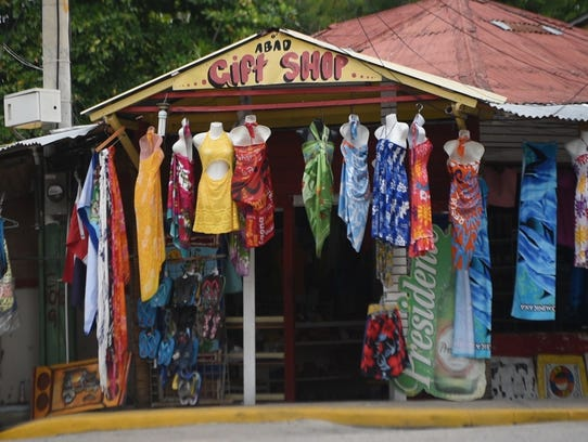 A gift shop in the Dominican Republic sits near a beach.