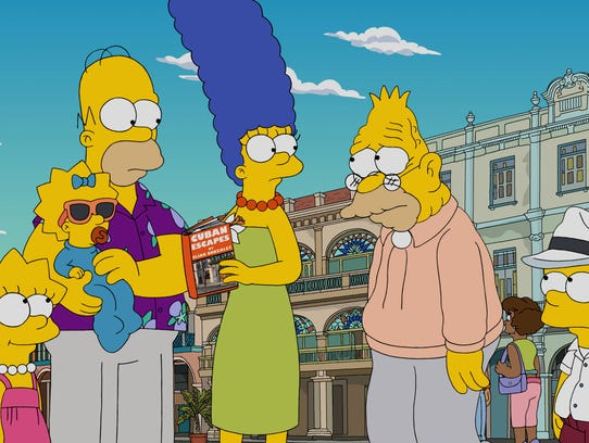 The Simpson family - Lisa, left, Maggie, Homer, Marge,