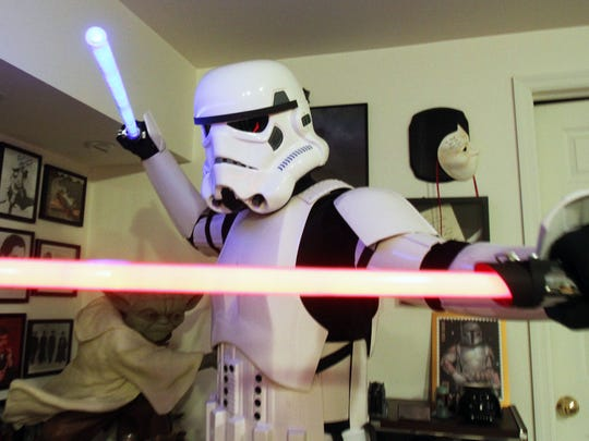 It takes DeSimone about ten minutes just to get into the Stormtropper armor.